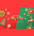 christmas web template paper cut decoration icons vector image vector image