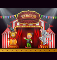 circus trainer with elephant and lion on the stage vector image vector image