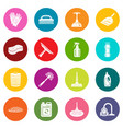 cleaning icons set colorful circles vector image vector image