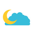 cloud and crescent moon colorful silhouette vector image vector image