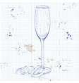 Cocktail French 75 on a notebook page vector image vector image