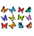 collection of colorful butterflies flying vector image vector image