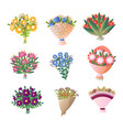 colorful fresh flowers bouquet set isolated on vector image vector image