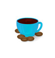 cup of coffee blue and coffee beans isolate 3d vector image