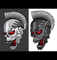 cyber punk robot skull with glowing eyes vector image