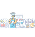 dairy products - colorful line design style vector image vector image