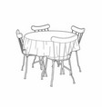 drawing of a kitchen table vector image vector image