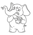 elephant character angry pointing at the clock vector image vector image