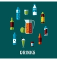Flat non alcoholic beverage with caption Drinks vector image vector image