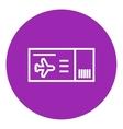 Flight ticket line icon vector image vector image