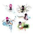floral frames with emo kids vector image vector image