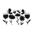 flowers and butterflies black silhouette for your vector image vector image