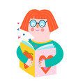 girl reading book flat shapes icon design vector image