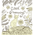 Good morning card with cute hand drawn cat sitting vector image