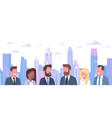 group of business people over modern city vector image vector image
