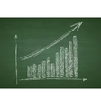 Growing graph hand drawing with arrow on green vector image