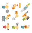 hands holding tools colorful poster on vector image vector image