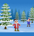 happy kids to wear winter clothes and play outdoor vector image vector image