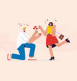 happy man proposes marriage to his girlfriend vector image