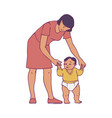 happy mother standing with newborn baby vector image vector image