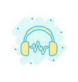 headphone headset icon in comic style headphones vector image
