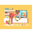Housewife cleans house vector image vector image