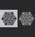 mandala or napkin black on white and white on dark vector image