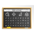 Medical hand drawing line icons chalk sketch sign vector image vector image