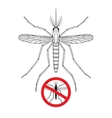 Mosquito and No mosquito sign silhouette vector image vector image