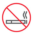 no smoking line icon prohibition and forbidden vector image vector image