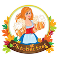 Oktoberfest girl with beer vector image vector image