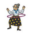 old woman hula hoop sketch vector image