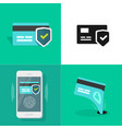 online digital money security set via credit bank vector image vector image
