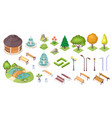 park trees garden landscape isometric constructor vector image vector image