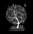 people in coworking office concept tree for your vector image
