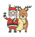 santa with bell and reindeer celebration merry vector image vector image