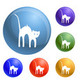 scary cat icons set vector image