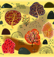 seamless background with stylized autumn trees vector image vector image
