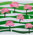 seamless pattern with rabbits in the sakura park vector image vector image