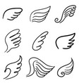 set abstract wings in line art doodle style vector image
