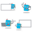 set of blue book character with laptop phone board vector image