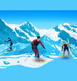 skiers in mountains vector image