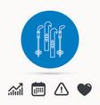 skiing icon ski and sticks sign vector image