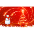 Snowman with Christmas tree vector image vector image