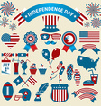 Stock Set of color independence day icons vector image vector image