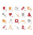 stylized dental medicine and tools icons vector image vector image