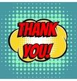 thank you comic book bubble text retro style vector image vector image