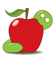 Worm and apple cartoon vector image vector image