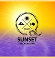 yellow sunset with purple water sea surface vector image vector image