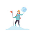 young man with backpack standing on mountain top vector image vector image